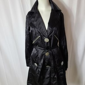Cartise Satin trench coat with silver buttons